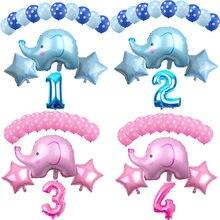 14 pçs 12 polegada dos desenhos animados látex balões crianças festa de aniversário decoração azul rosa elefante chuveiro do bebê balões decorações favor