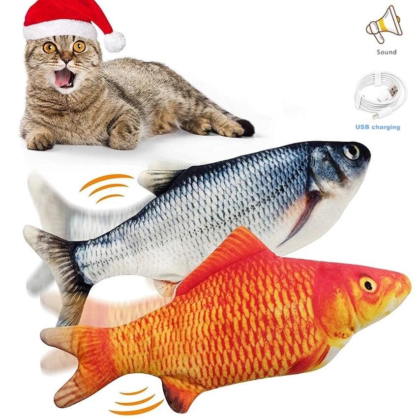 30 см кошка игрушка электрический зарядка через USB моделирование Танцы перемещение флоппи-рыба кошки игрушки для домашних животных Прямая п...