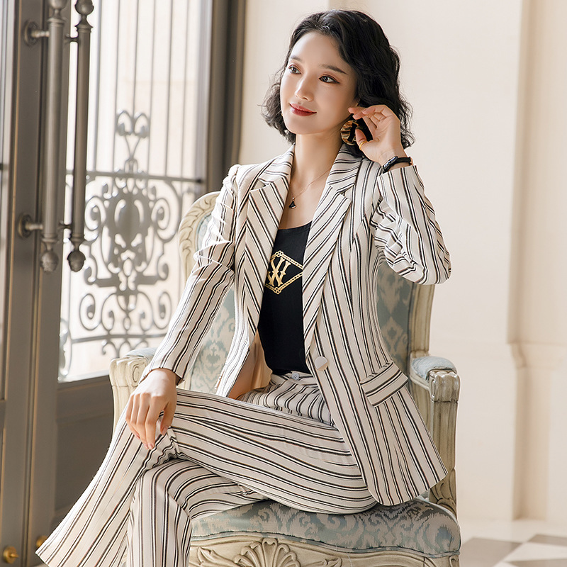 Hot Female Office Work Formal Stripe Long Pant Suits Women's Suit Lady Uniform 2 Piece Set Blazer Trouser Jacket Suits Plus Size