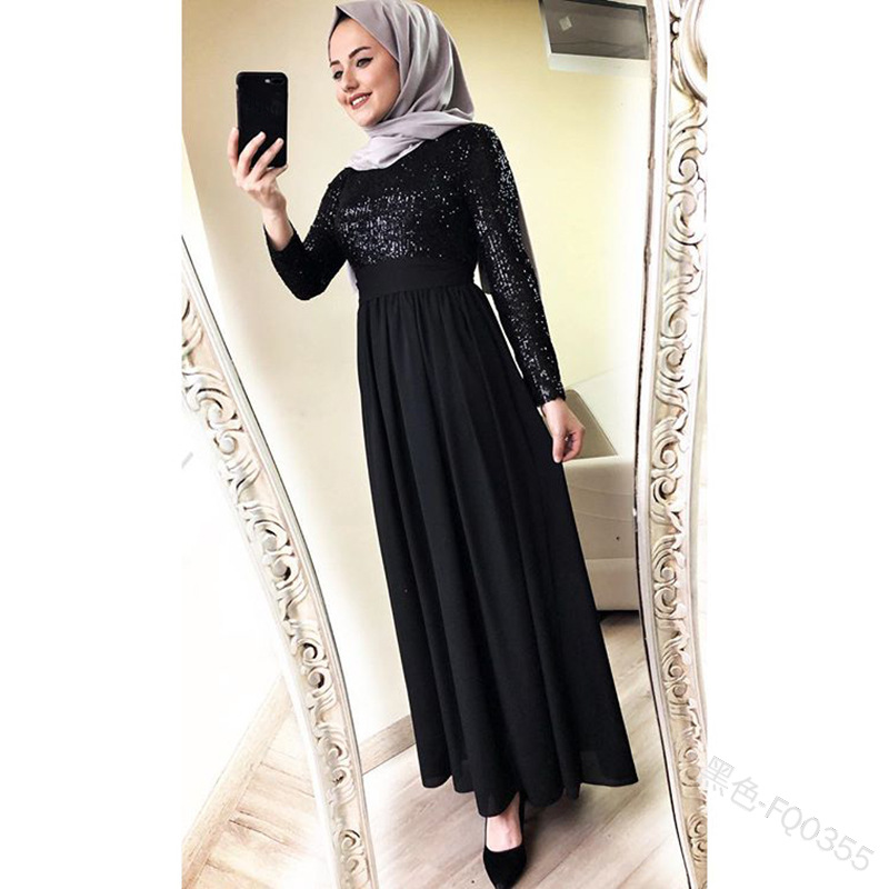New 2019 Elegant And Slim Dress Muslim Dress With High Waist And Long Sleeves