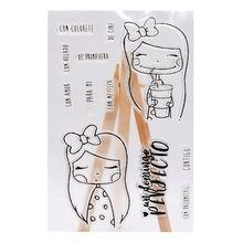 Милый напиток девушка мультфильм силиконовый печать штамп DIY Скрапбукинг Фотоальбом Декор