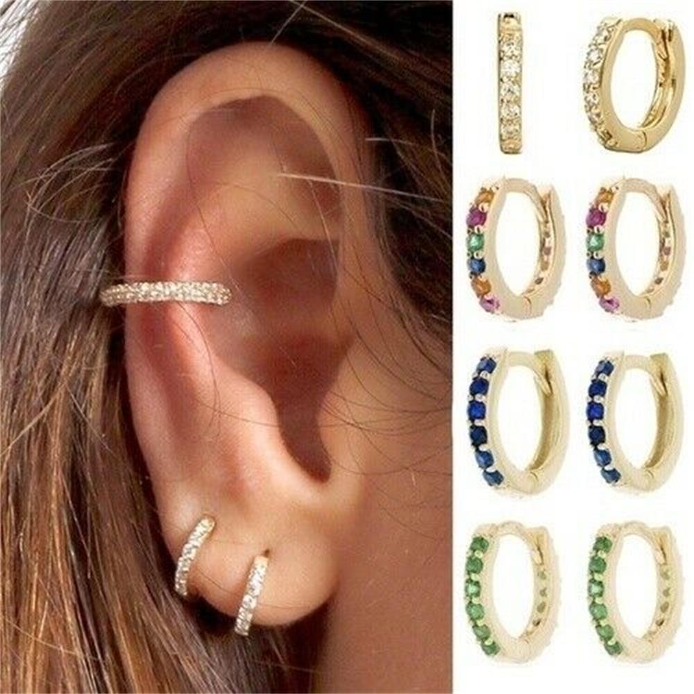 Small Hoop Stud 8mm Gold Filled Zircon Ear Stud Women Girl Rainbow Boho Ear Studs Hoop Helix Cartilage Tragus Body Jewelry