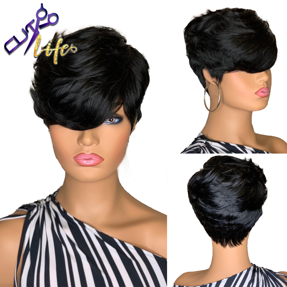 Pelucas onduladas de cabello humano de corte corto de Pixie pelucas sin pegamento de Color negro Natural, cabello Remy brasileño para mujer, pelucas hechas a máquina