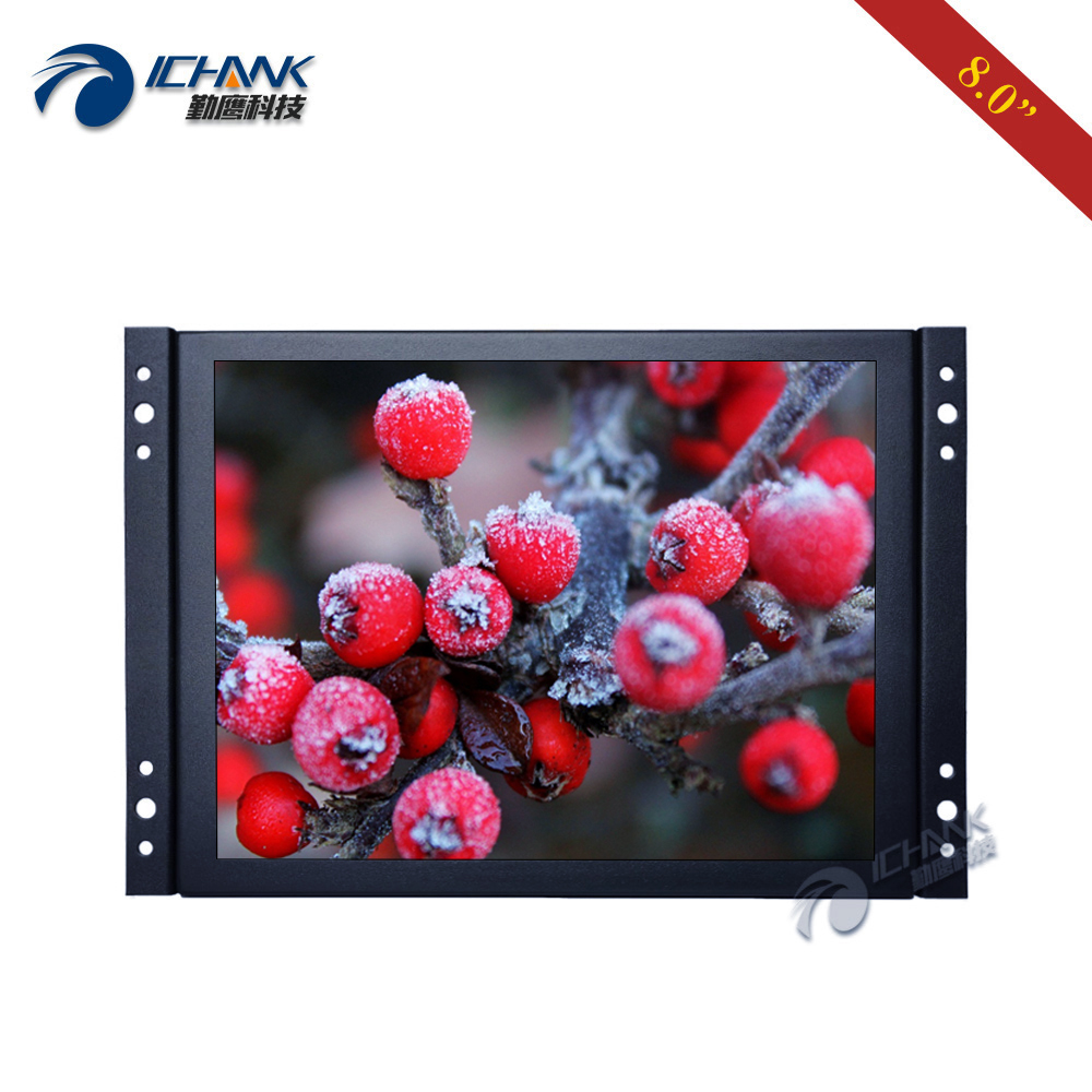 "ZK080TN-262/8"" inch 1024x768 Mini VGA BNC HDMI AV Metal Iron Case Embedded Open Frame Wall-mounted PC Monitor LCD Sreen Display"