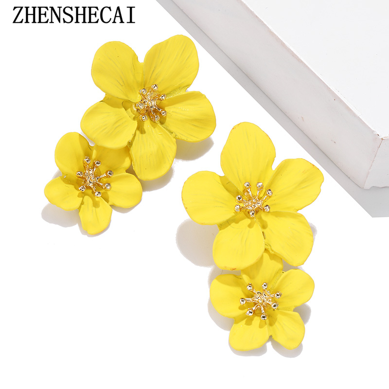 2019 new design fashion jewelry elegant big double mixed flower co earrings summer style beach party earring for women jewelry