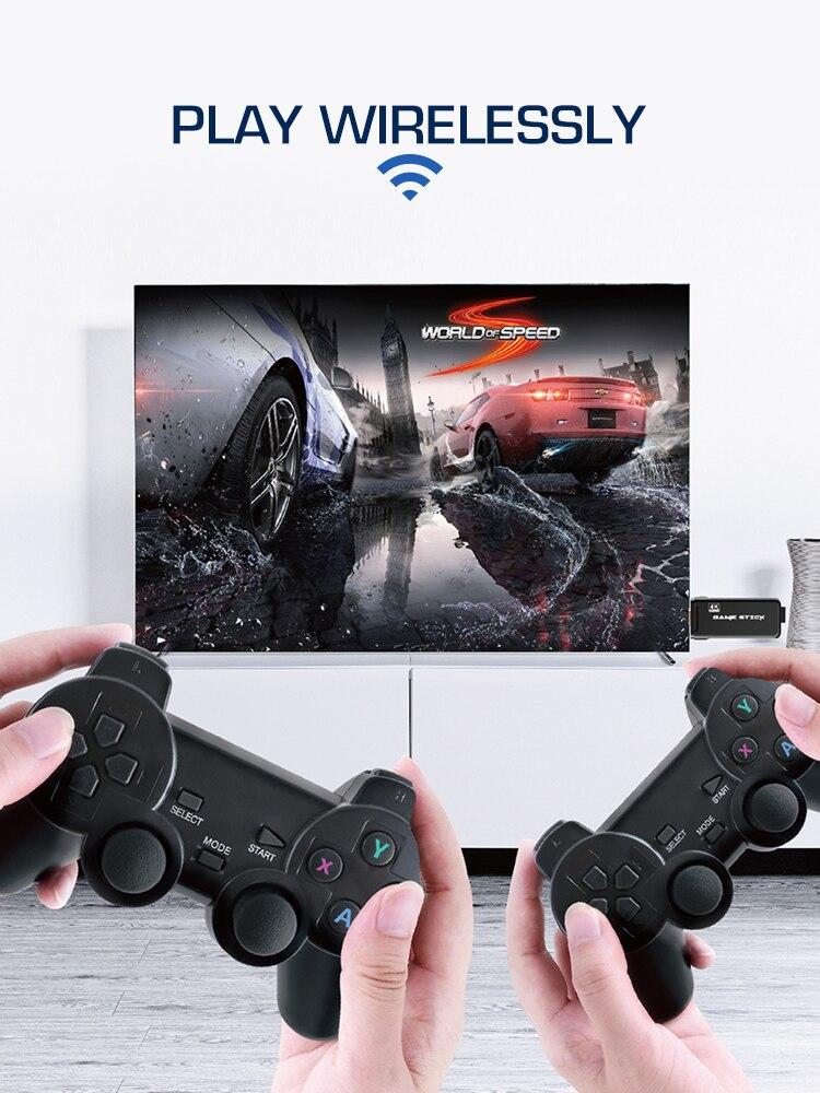 Console de jeux vidéo rétro 4K HDMI avec 2 contrôleurs sans fil