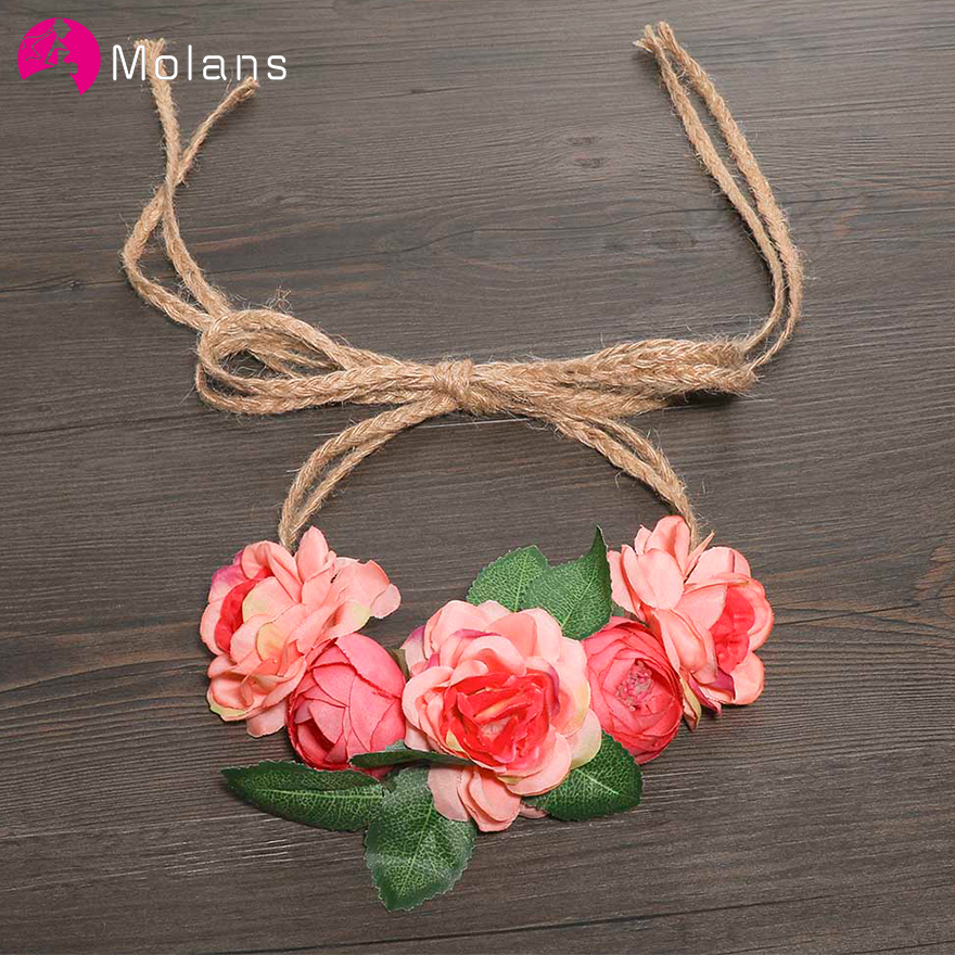 MOLANS Elegant Flower Bridal Sash Stimulation Peony Leaf Dress Gown Belt Hemp Rope Fabric Waist Belts Wedding Accessories