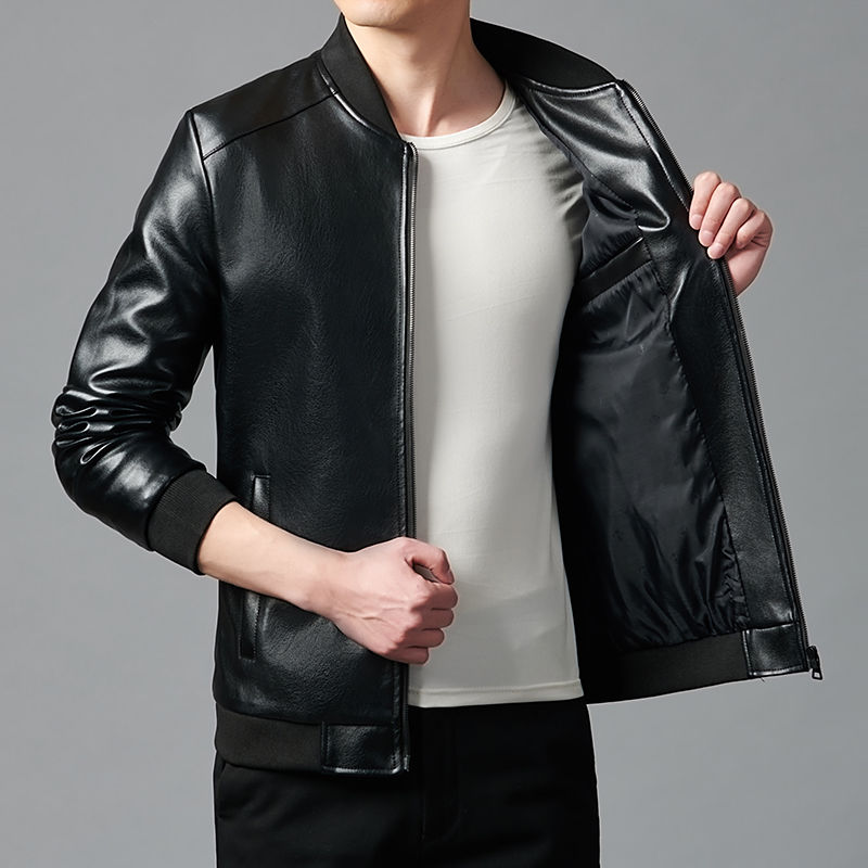 Autumn Winter New Faux Leather Jacket for Men's Washed Leather Plus Velvet Thickened Middle-aged and Young Black Casual Coat Top