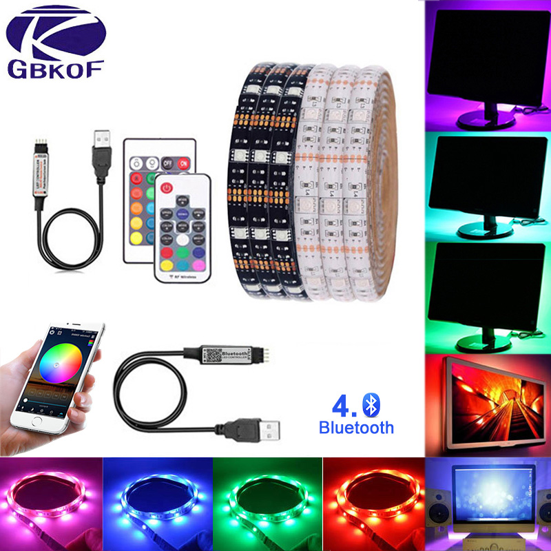 5V USB LED Strip 5050 RGB Changeable LED TV Background Lighting 50CM 1M 2M 3M 4M 5M DIY Flexible LED Light Lamp Bluetooth Remote