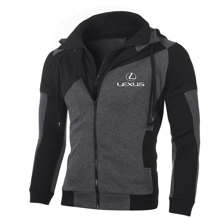 LEXUS Logo Men Sweatshirt Casual Jacket Coat Zipper Cotton LEXUS Hoodie Cardigan Hoodie Double Zipper Jacket Outerwear