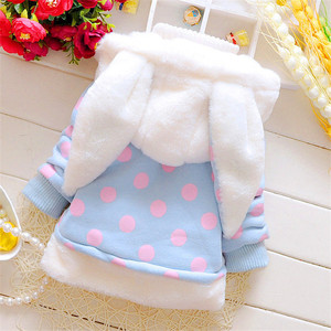 Image 4 - 2020 New Winter Baby Girls Clothes Fleece Coat Pageant Warm Jacket Xmas Clothing 3 6Y Baby Rabbit Ear Hooded Jacket Outerwear