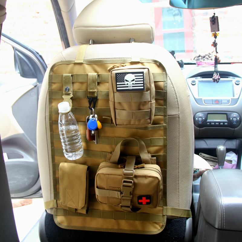 Evrensel taktik MOLLE araba koltuğu arka düzenleyicisi askeri MOLLE klozet kapağı koruyucu açık araçları oto aksesuarları saklama çantası