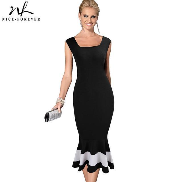 נחמד לנצח בציר טלאים אלגנטיים בת ים vestidos המפלגה עסקי Bodycon נשים שמלת B221