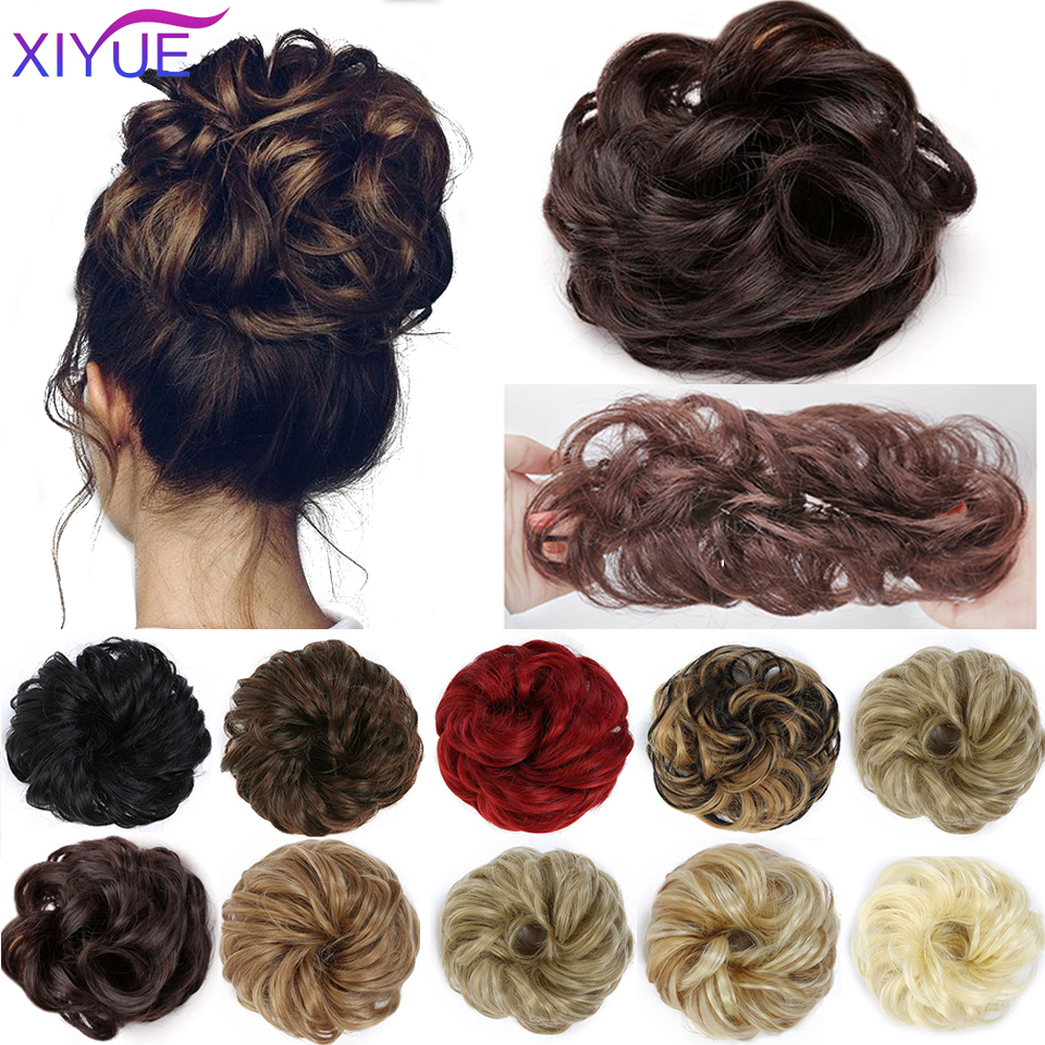 Пучки для волос, вьющийся шиньон, эластичный спутанный шиньон, пушистый шиньон, волнистые шиньоны, Обертывающие конский хвост, удлинители в...