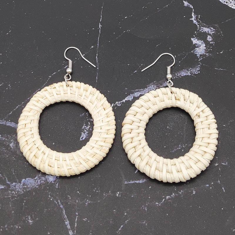 Bohemian Wicker Rattan Knit Pendant Earrings Handmade Wood Vine Weave Geometry Round Statement Long Earrings for Women Jewelry 33