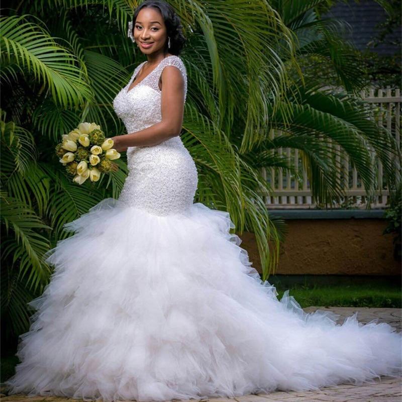 QQ Lover Arabic Style Wedding Dress 2019 Deep V Neck Beading Layer Mermaid Wedding Chapel Train