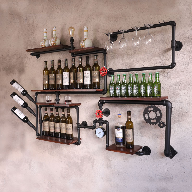 Coffee Shop Bar Wine Cabinet Wine Rack Loft Retro Industrial Style Shelving Shelf Wall Iron Solid Wood Pipe Wall Hanging CF