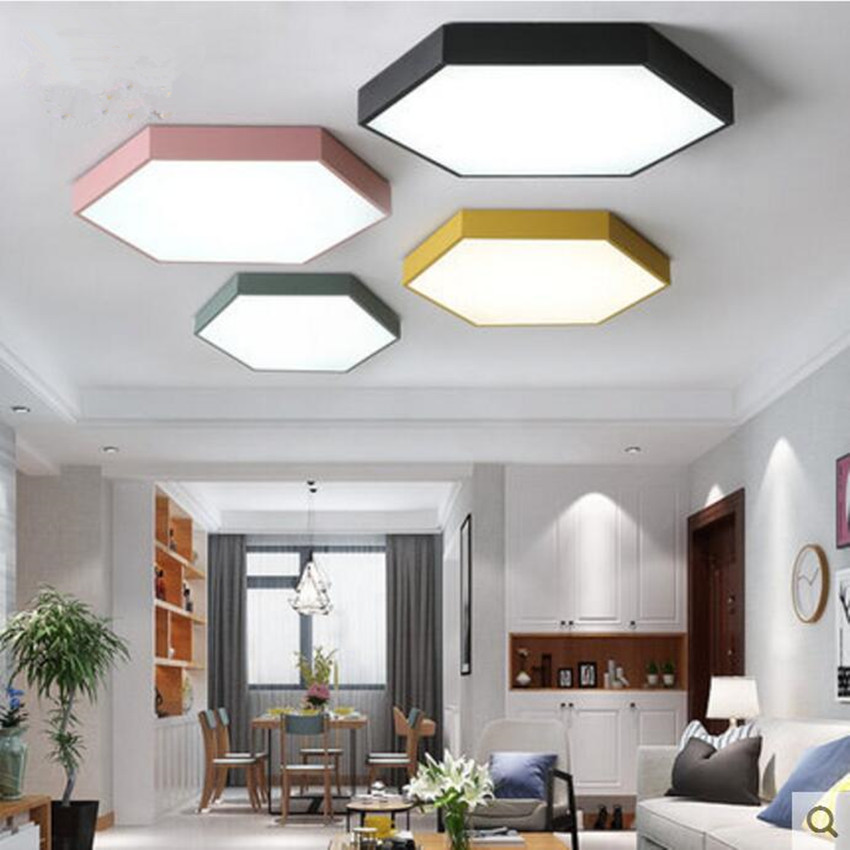 Ultrathin LED modern ceiling light hexagon Iron Acrylic indoor lamp kitchen bed room porch decoration light Ultrathin LED modern ceiling light hexagon Iron Acrylic indoor lamp kitchen bed room porch decoration light fixture AC110-265V