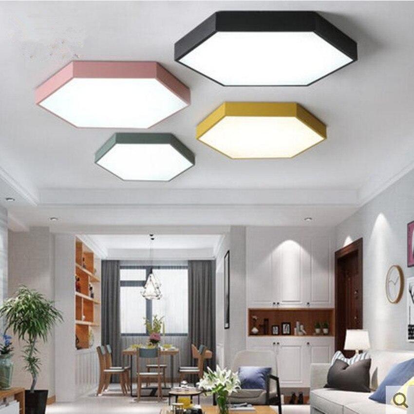 Ultrathin LED moderne plafonnier hexagone fer acrylique intérieur lampe cuisine lit chambre porche décoration luminaire AC110-265V
