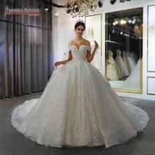 فستان الزفاف 2020 رداء دي ماري قبالة الكتف الأشرطة ثوب زفاف 100% صورة عمل حقيقية