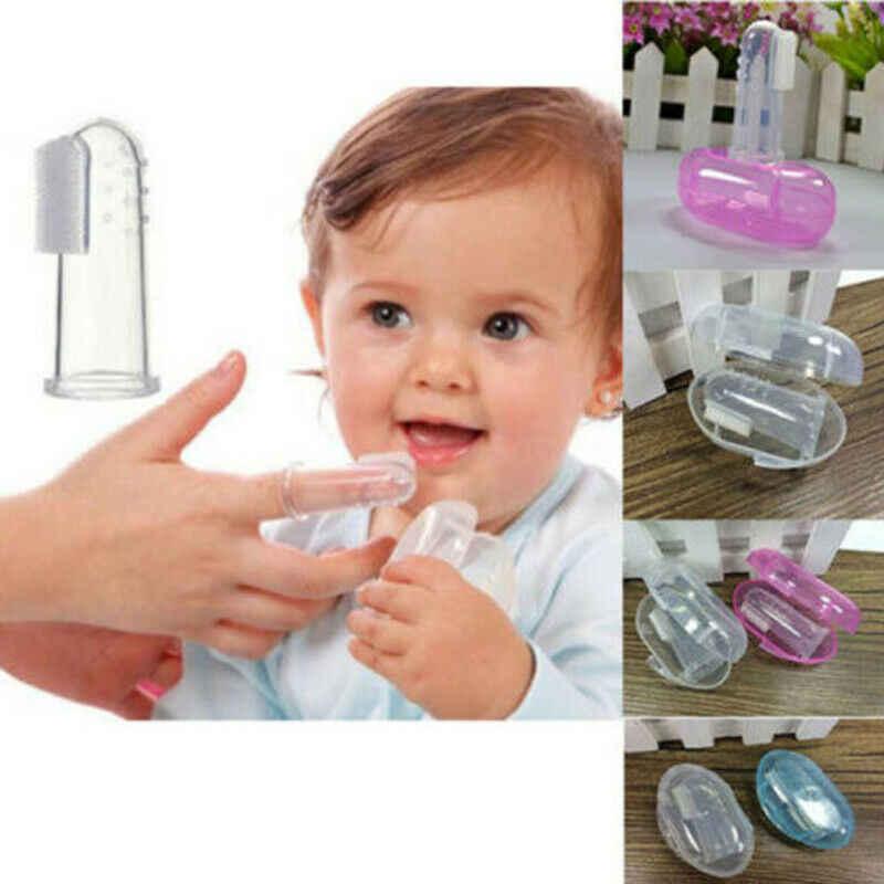 Pudcoco suave de dedos cepillo de dientes infantil Dental Cuidado de limpieza cepillos para higiene cepillos de dientes transparentes de silicona con caja