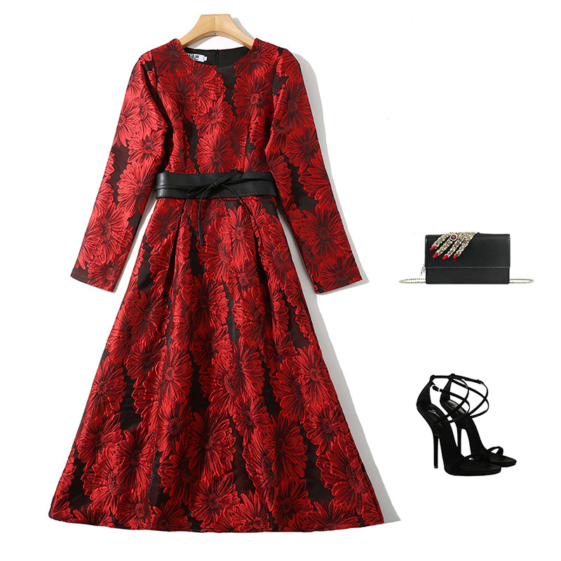 Spring And Autumn Western Style WOMEN'S Dress High-End Elegant-Style Crew Neck Long Sleeve Jacquard Slim Fit Formal Dress