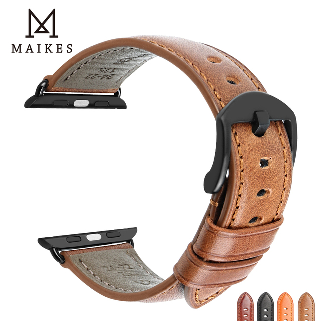 MAIKES For Apple Watch Band 44mm 40mm  iWatch Series 4 3 2 1 Apple Watch Band 42mm 38mm leather loop Watch Accessories Bracelet