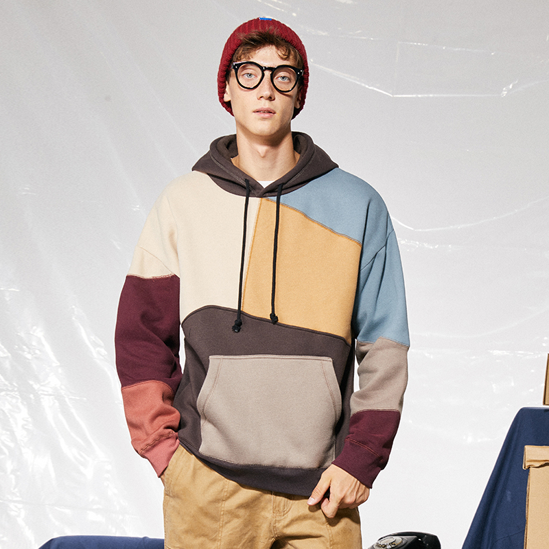 US SIZE Men Woman Hip Hop Patchwork Casual Sweatshirts 2020 Autumn Winter Korean Clothes Thicken Warm Streetwear Hoodies
