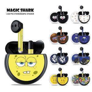 Magic Shark 2020 Cute Dragon Ball Pikachu SpongeBob Little Duck No Fade Sticker Cover Skin Film Case for HUAWEI Freebuds 3(China)