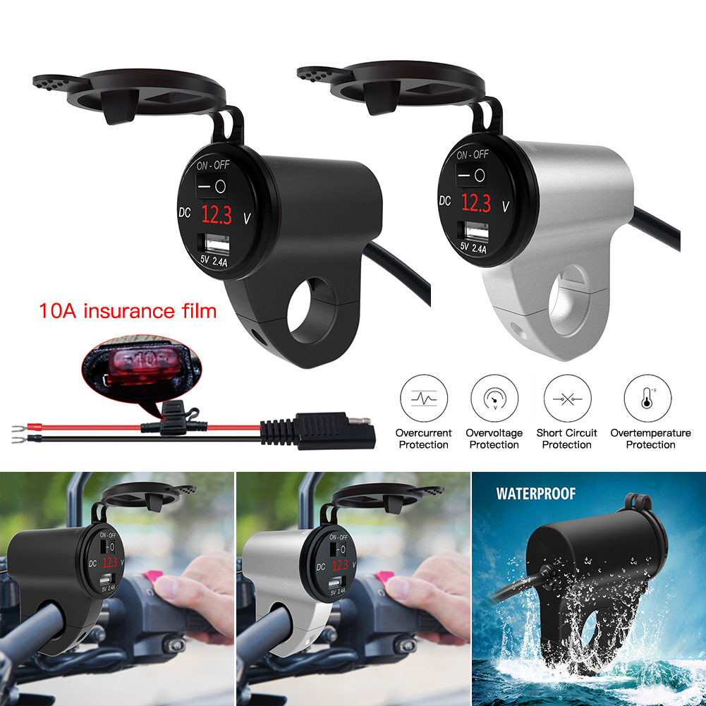 New Upgrade Motorcycle Aluminum Alloy Waterproof Mobile Phone Charger Digital Display Voltage 2.4A Car USB With Power Off Switch