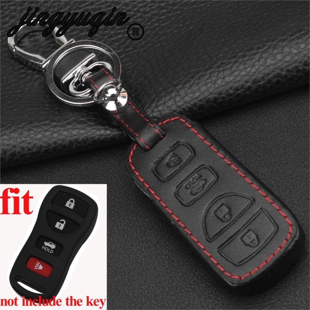 jingyuqin Remote Fob Leather Car Key Cover Case For Nissan Armada Sentra <font><b>350Z</b></font> Altima Maxima Infiniti For KBRASTU15 <font><b>keychain</b></font> image