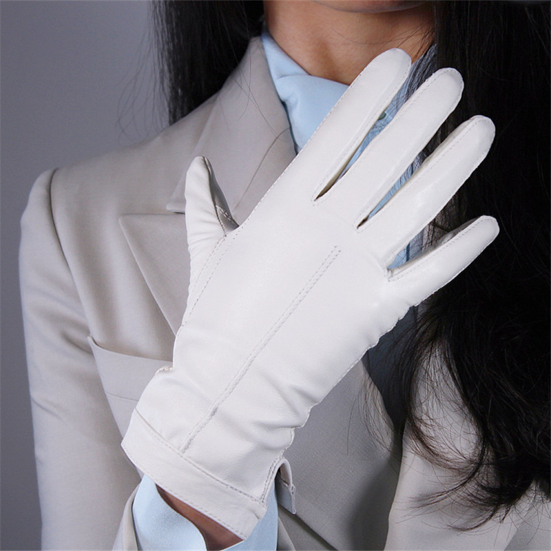 Touchscreen Sheepskin Gloves 25cm Genuine Leather White Short Section Velvet Lined Thermal Women's Gloves  WZP29