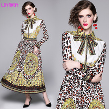European station early autumn new fashion bow tie retro leopard contrast print long sleeves pleated long dress Polyester