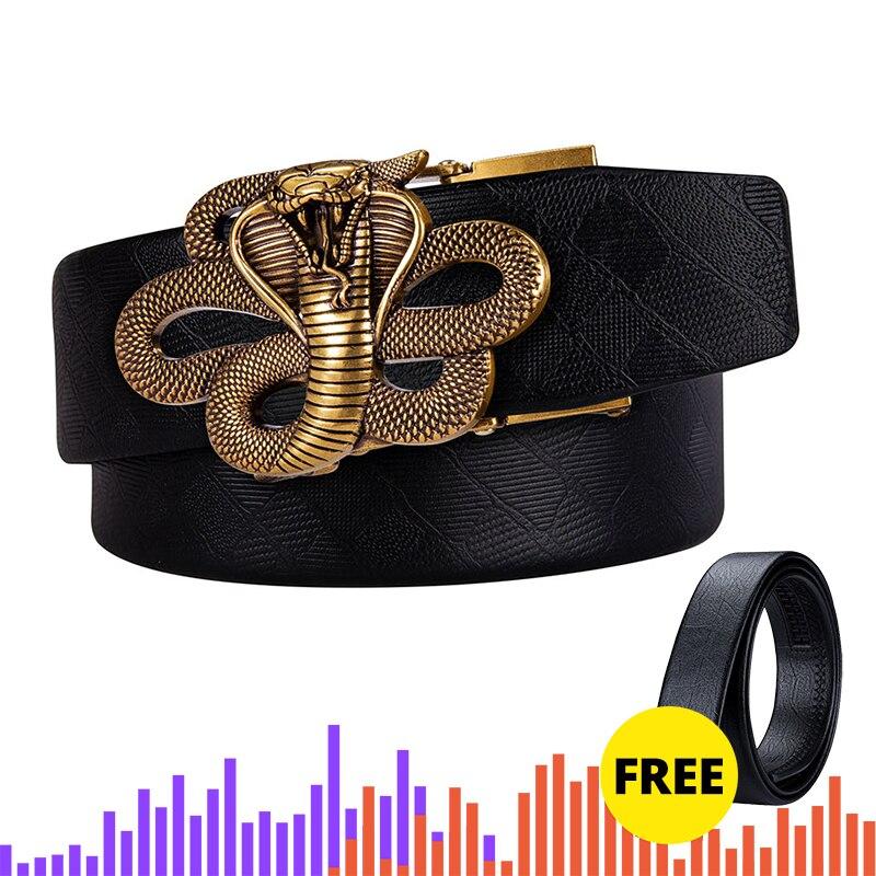 Hi-Tie Brand Automatic Buckle Men's Belt Alloy Buckle Trouser Belt Buckle Head Golden  Snake Lion Buckle Luxury Fashion Belts