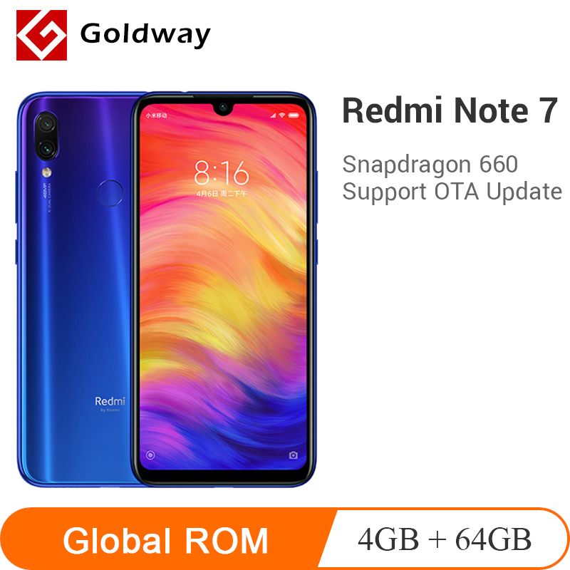 Global ROM Xiaomi Originais Redmi Nota 7 4GB 64GB Smartphones Snapdragon 660 Núcleo octa 48MP Dual Camera 6.3