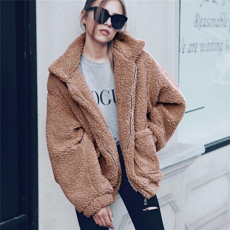 Элегантное женское пальто из искусственного меха 2019 Осень Зима Толстая теплая мягкая флисовая куртка Верхняя одежда с карманами на молнии