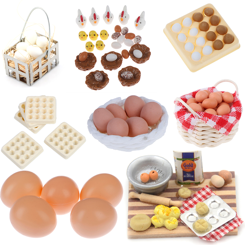 Mini Kitchen Food Mini Egg Basket Egg Trays For Doll House Cooking Game Food Toys 1:12 Dollhouse Miniature Accessories