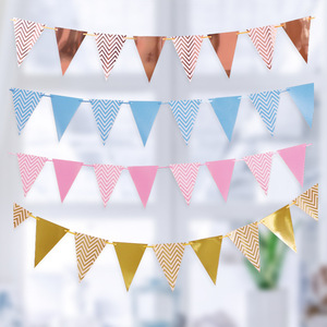 Rose Gold Happy Birthday Party Banner 1st First Birthday Boy Girl Party Kids Adult Bunting Paper Flags Birthday Garland One Year