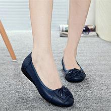 Handmade genuine leather flat shoes women