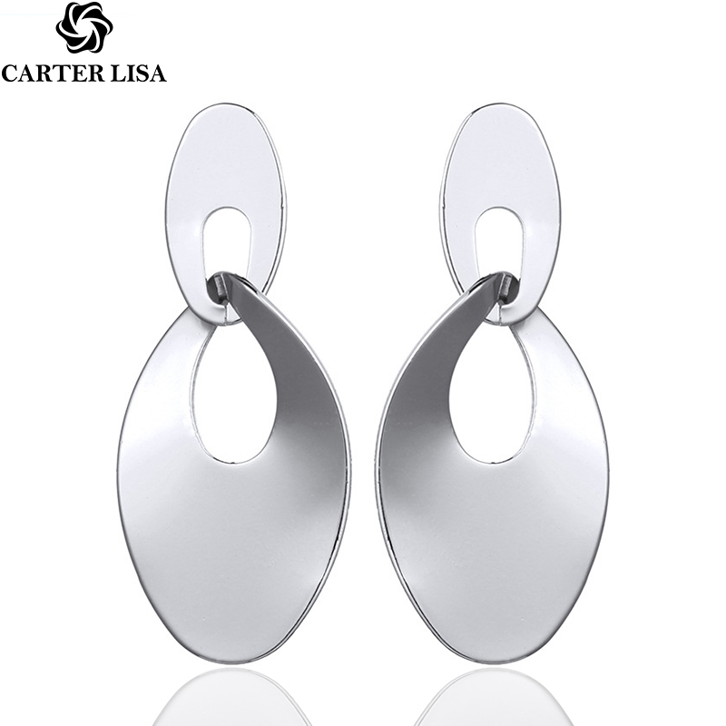 CARTER LISA 2019 Original Simple Design Vintage Women's Fashion Statement Oval Metal Earrings Geometric Golden EarringJewelry