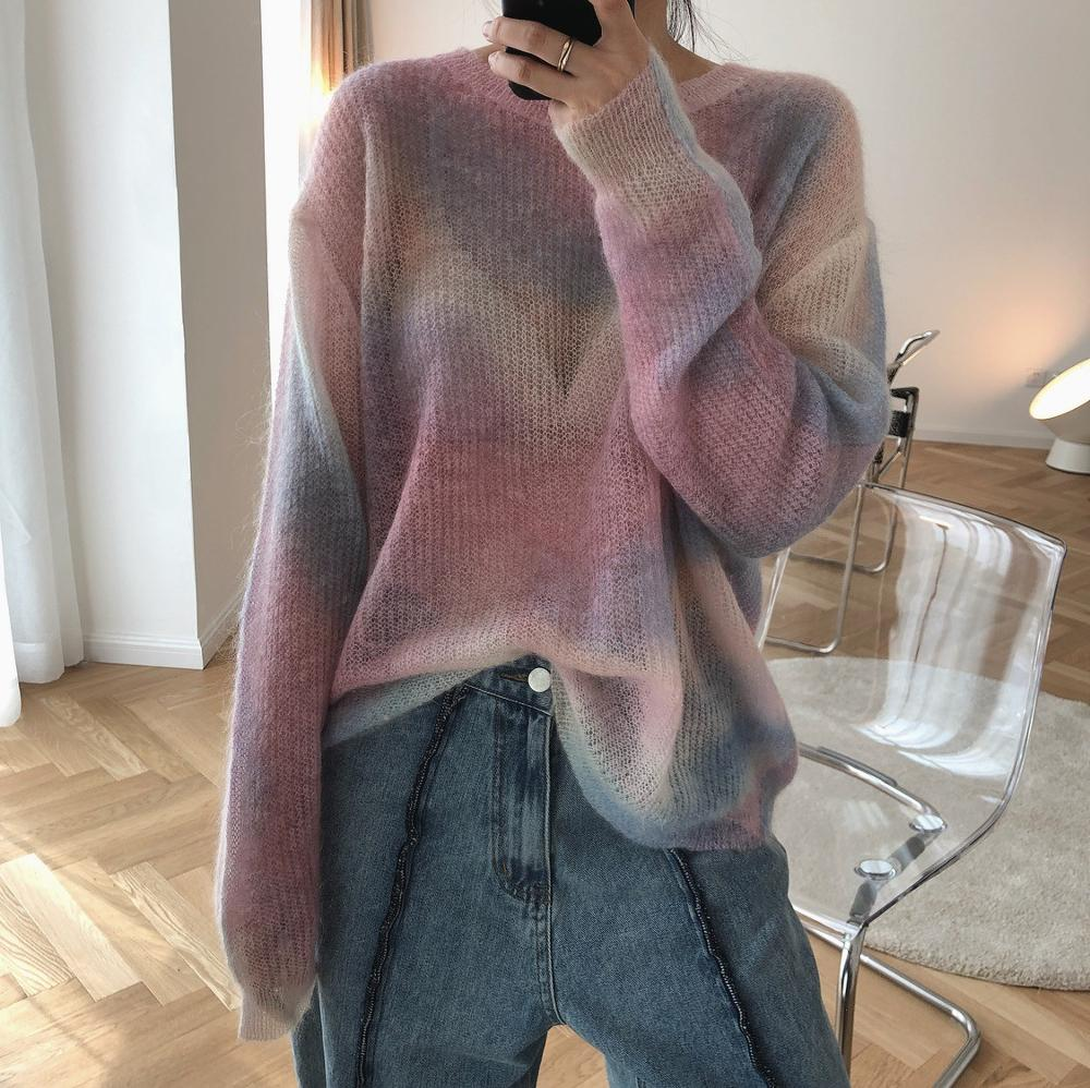 Women Gradient Sweater Autumn Spring Rainbow Stripe Mesh Pullover Knitted Shirt Sweater Loose Oversized Long Sleeve Tops Jumper