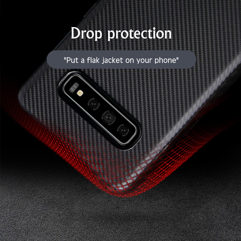 Carbon Fiber Case For Samsung S10 e S9 S8 Plus Luxury Silicone Ultra thin Cases For Samsung Note 9 8 A30 A50 A70 Business Cover in Fitted Cases from Cellphones Telecommunications