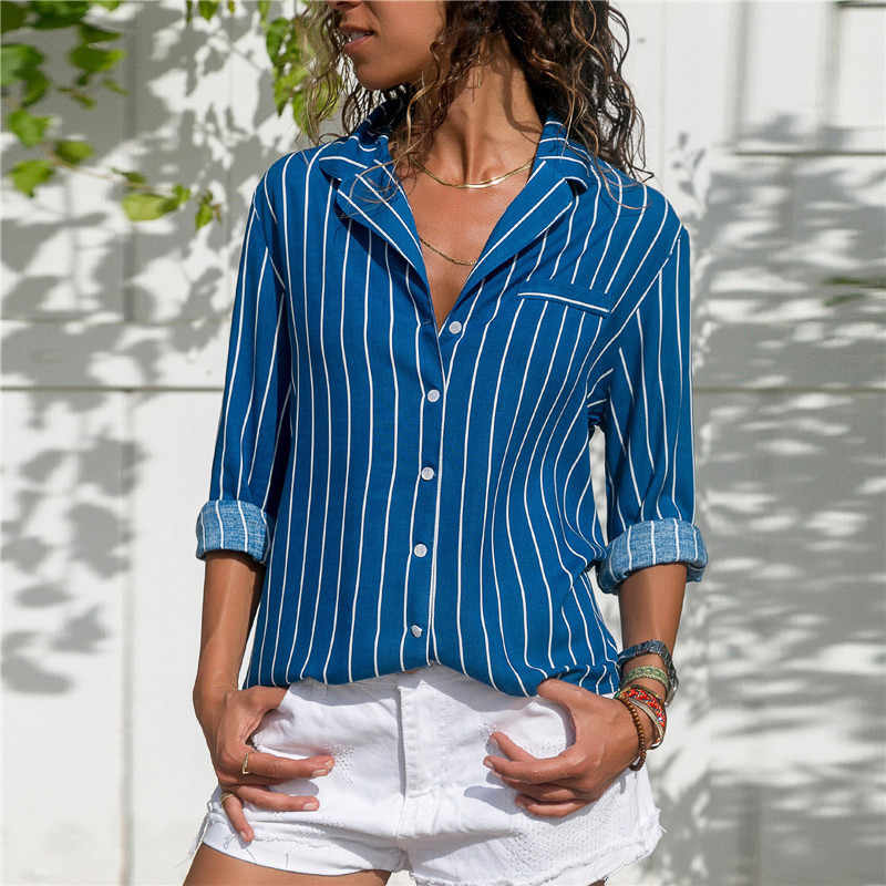 Striped Blouse 2019 Womens Tops And Blouses Long Sleeves Ladies Long Sleeve Office Shirt Striped Blouse Shirt Plus Size Blusas
