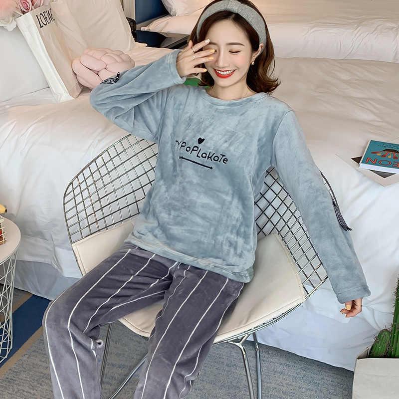 2019 sonbahar kış kadın Pijama setleri Pijama uzun kollu kalın sıcak mercan flanel kadın karikatür hayvan Pijama Mujer