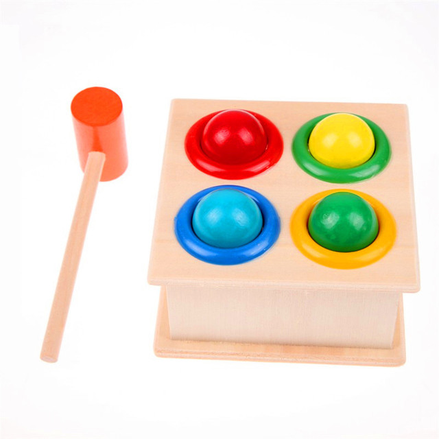 1Set Wooden Hammering Ball Hammer Box Children Fun Playing Hamster Game Toy Early Learning Educational Toys 3