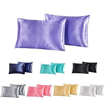 Luxury Silky Satin Pillowcase Solid Color Pillow Covers Bedding Standard/queen/king Size 1PCS Pillow Case for Women Men Kids liv esthete luxury 100% nature mulberry silk sky blue pillowcase queen king healthy skin silky pillow case for women man kids