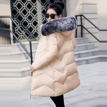 Winter Jacket Women Parkas for Coat Female Fashion Down Jacket With a Hood Large Faux Fur Collar Ladies Coat warm Winter Outwear(China)