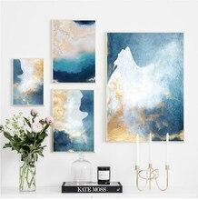 Pintura en lienzo abstracta moderna para sala de estar, pintura en lienzo de Color dorado y estampado para pared del dormitorio, arte de La imagen HD
