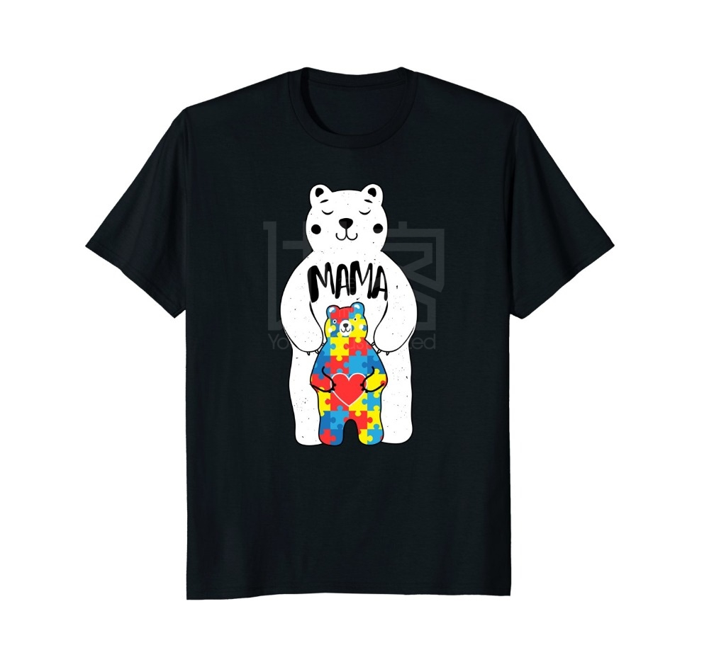 2018 Hot Sale Summer Style Mama Bear Autism Awareness T Shirt Love Support Mom Lover Tee Shirt