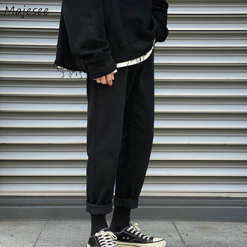 Men Jeans Solid Ankle-length Leisure Plus Size 4XL Loose Mens Denim Straight Trousers Simple Harajuku All-match Vintage Chic New